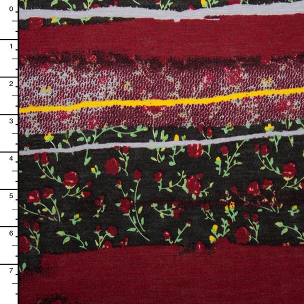 Burgundy Brushstroke Bohemian Stripe Jersey Knit