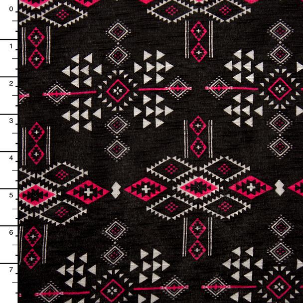 Hot Pink and White Tribal Pattern on Black Slubbed Jersey Knit