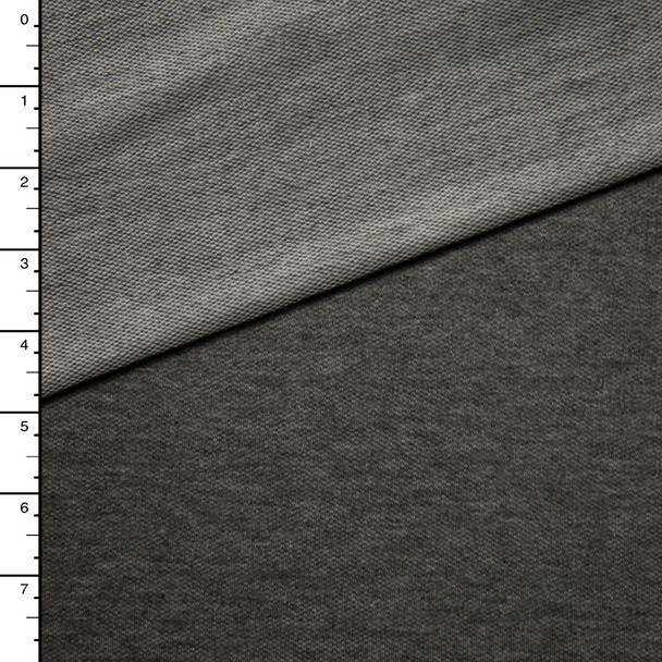 Charcoal Heather French Terry with White Looped Back