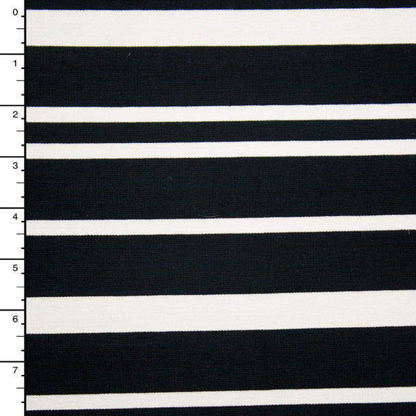 Black and Offwhite Staggered Stripe Stretch Ponte De Roma