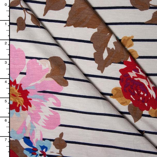 Ivory and Navy Striped Floral Stretch Rayon Jersey Knit