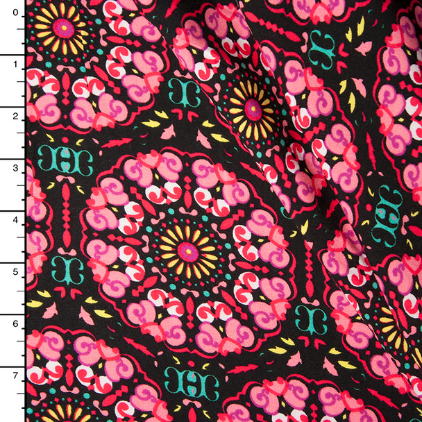 Hot Pink, Yellow, and Black Medallion Rayon Challi Print