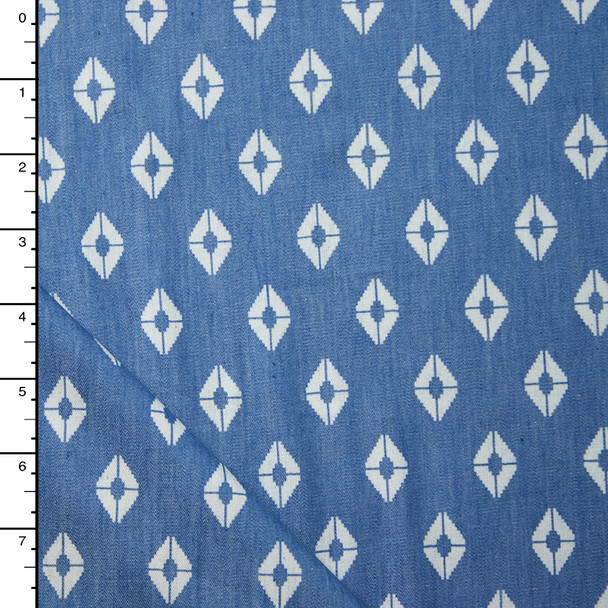 White Diamonds on Medium Blue Cotton/Tencel Chambray