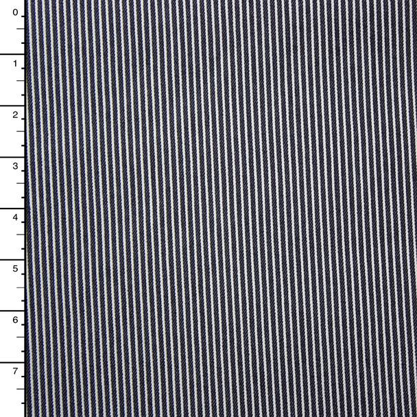 Black and Offwhite Pinstripe Stretch Denim