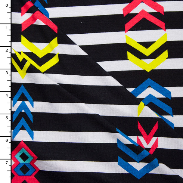 Bright Geometric on Black and White Stripe Stretch Jersey Print