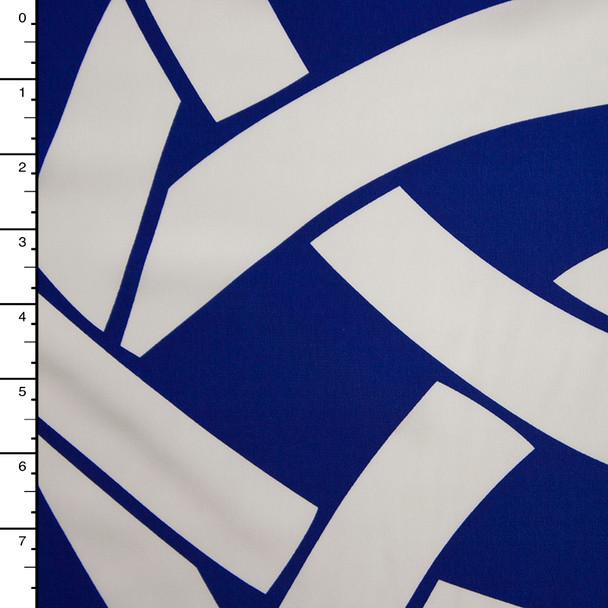 White on Royal Blue Tribal Large Scale Border Print Polyester Peachskin