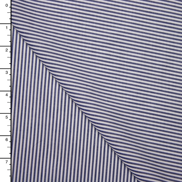 Blue and White Narrow Striped Designer Shirting