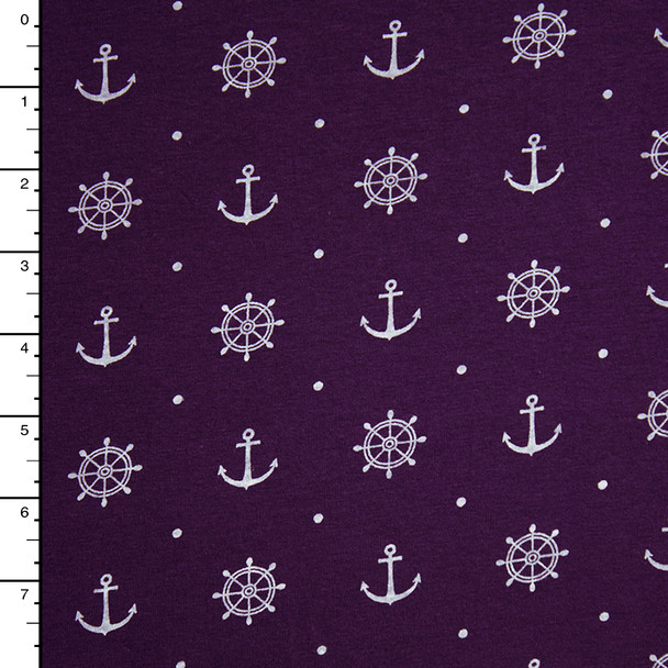 Plum Anchors and Wheels Print Stretch Jersey Knit