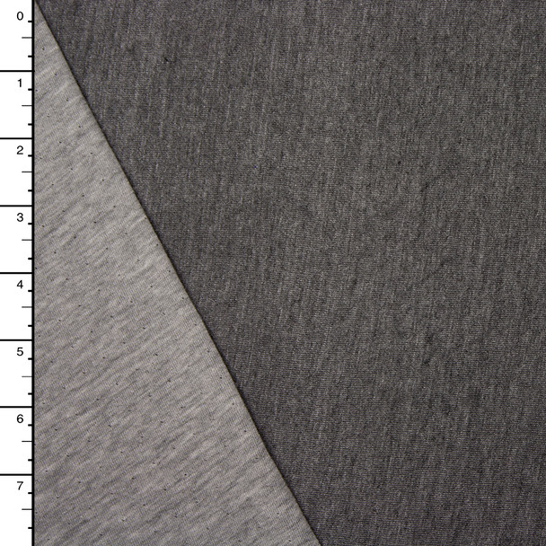 Light Grey/Dark Grey Heather Reversible Double Jersey Knit