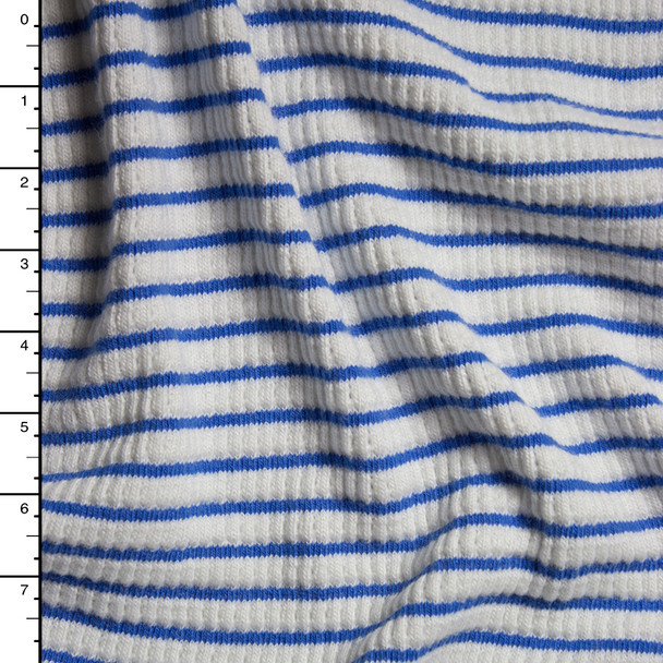 Warm White and Blue Heavy Ribbed Stretch Sweater Knit