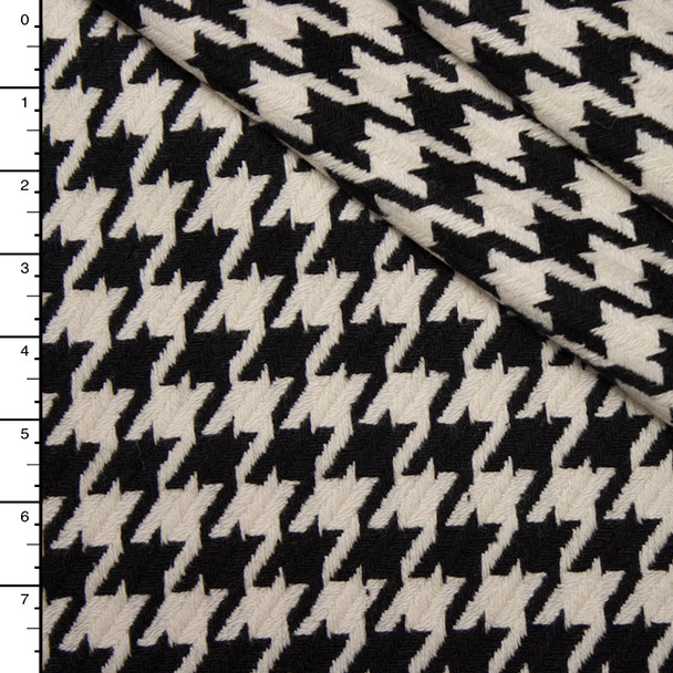 Black and Ivory Large Houndstooth Italian Wool Coating