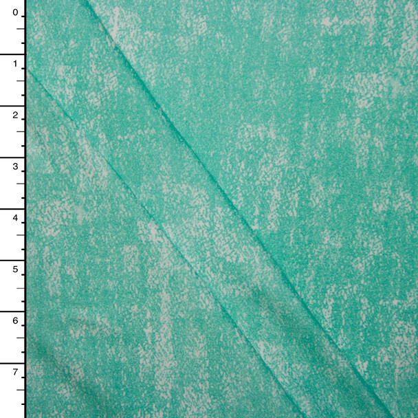 Bright Aqua Grunge Double Brushed Poly Spandex Knit Print