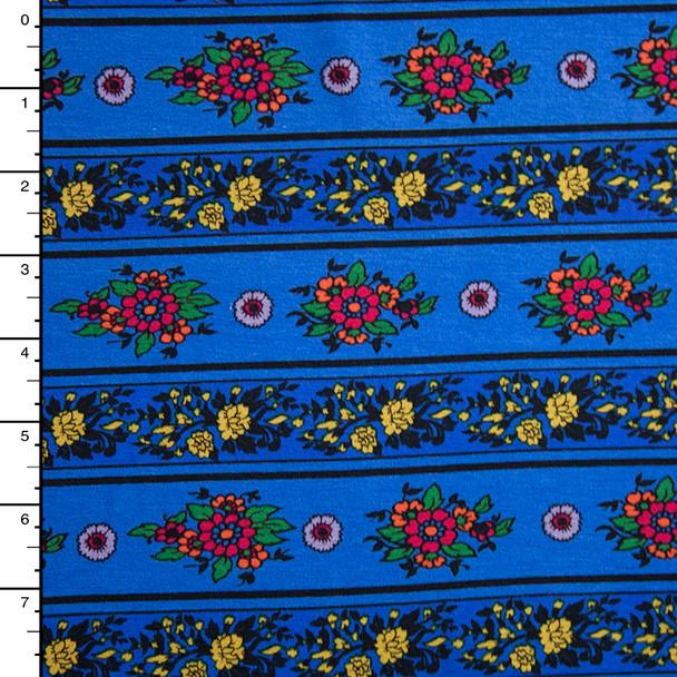 Blue on Blue Flower Stripe Stretch Jersey Knit