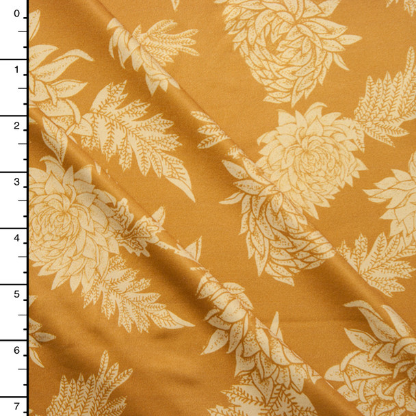 Tan and Mustard Vintage Floral Nylon/Lycra Print