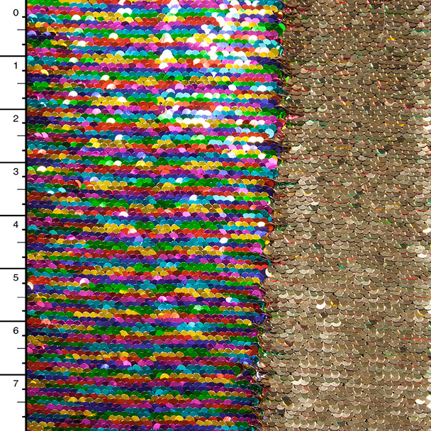 Metallic Rainbow and Gold Reversible Two Tone Sequin Fabric