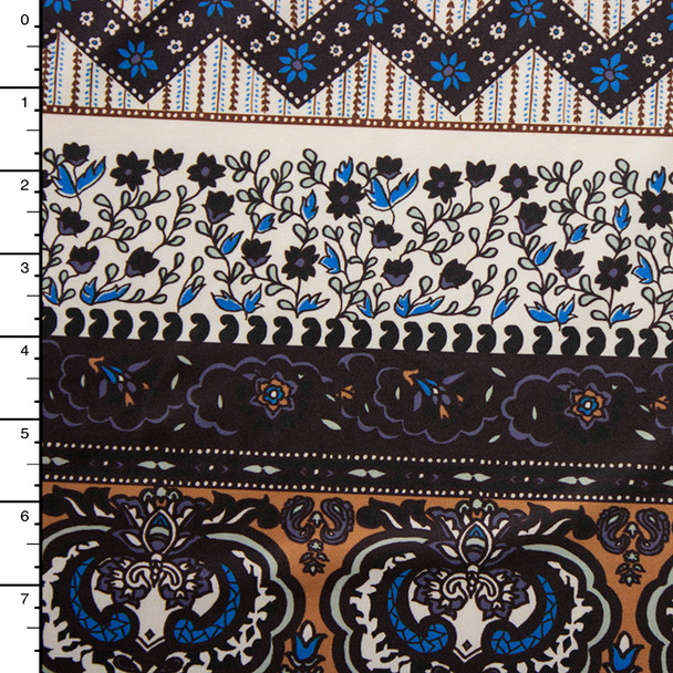 Tan, Brown, and Ivory Bohemian Stripe Print Nylon/Lycra