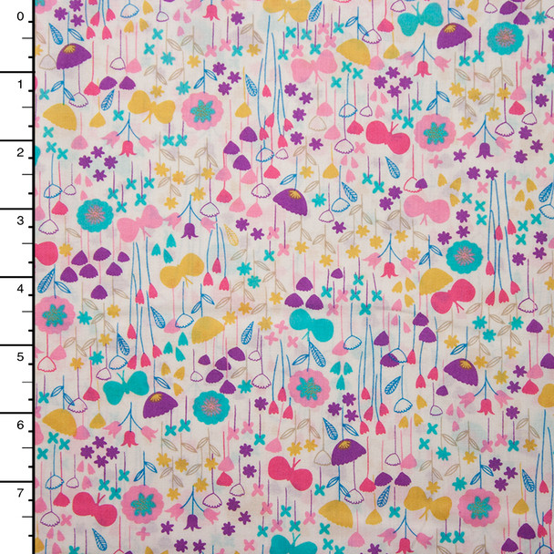 Pink Aqua, and Yellow Fun Floral 'London Calling' Cotton Lawn