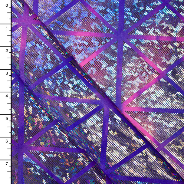 Geometric Silver Holographic on Pink and Purple Tie Dye Nylon/Lycra