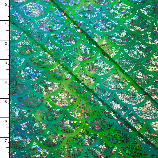 Silver on Tie Dye Aqua and Lime Holographic Mermaid Scale Nylon/Lycra