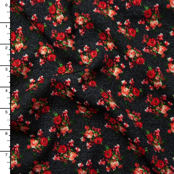 Rose Clusters Mottled Charcoal Pattern Liverpool Knit