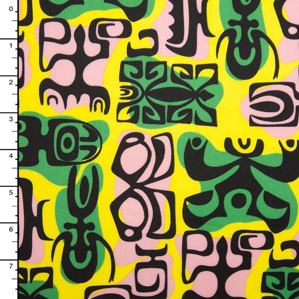 Vibrant Yellow, Green, Tan, and Black Island Print Nylon/Lycra