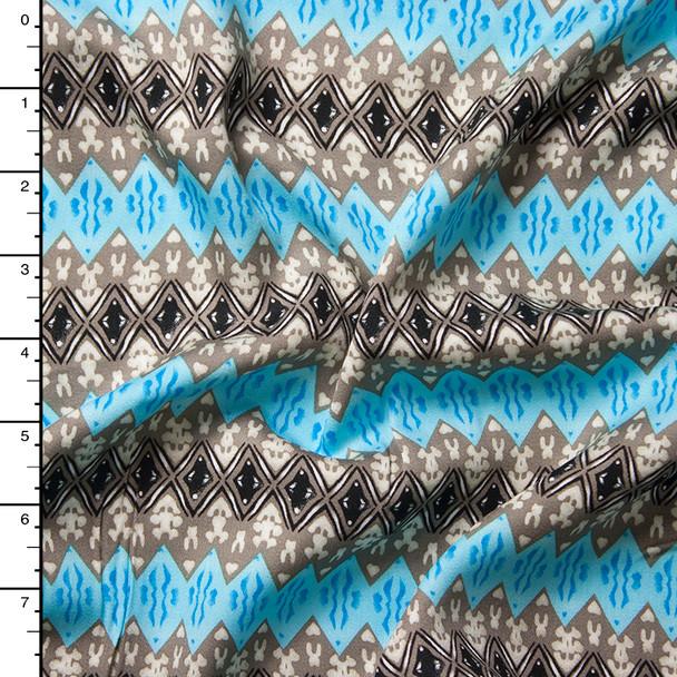 Sky Blue and Grey Diamond Stipe Pattern Rayon Challis Print