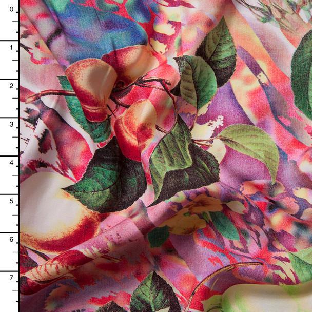Peaches and Limes Abstract Rayon Challis Print