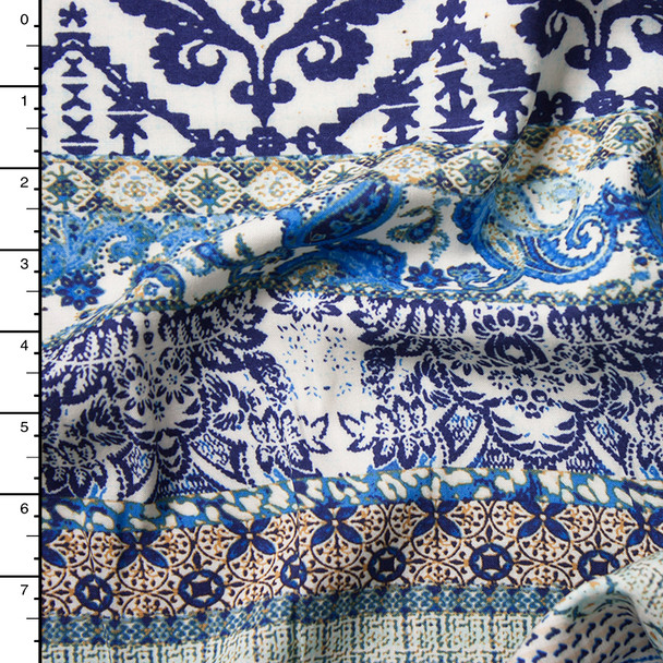 Blue, White, and Ivory Gypsy Stripe Rayon Challis Print