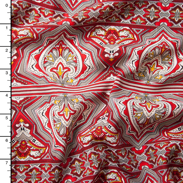 Red and Tan Ornate Pattern Rayon Challis Print