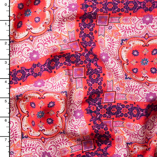 Red, Purple, and Pink Ornate Squares Rayon Challis Print