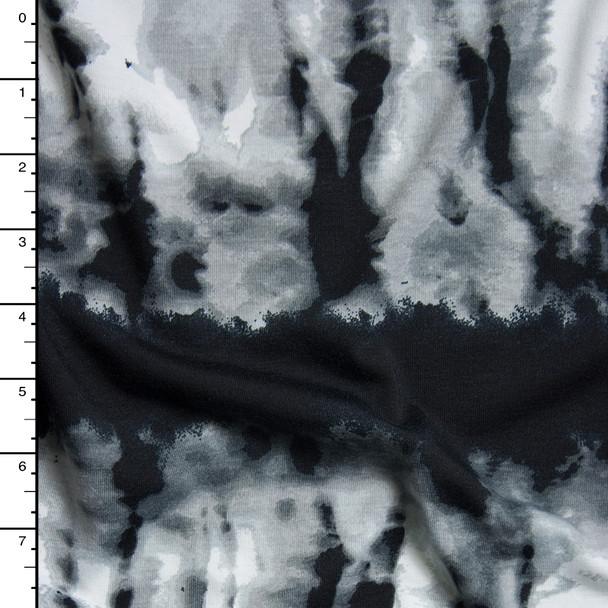 Grey and black Streaked Grunge Stripe Stretch Jersey Knit