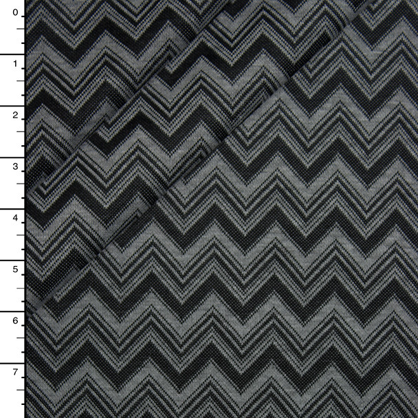 Grey and Black Chevron Pattern Soft Double Knit