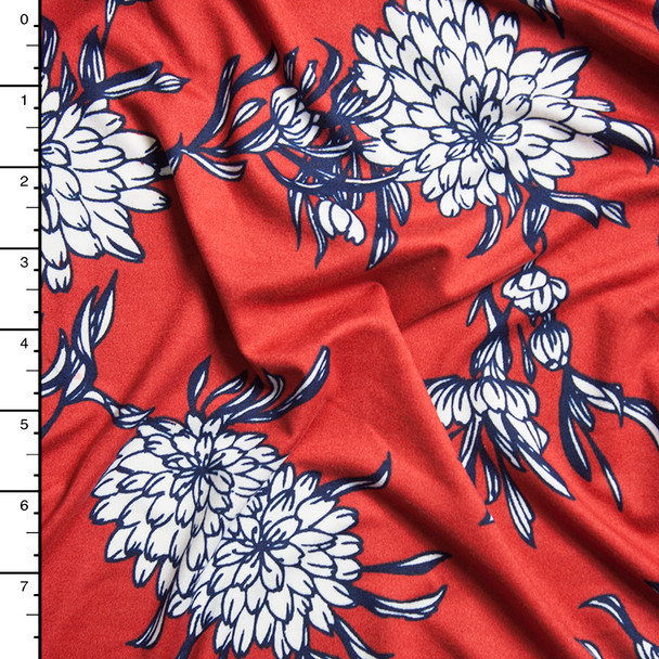 White and Navy Mums on Rust Red Floral Double Brushed Poly Print