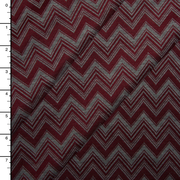 Grey and Burgundy Chevron Pattern Soft Double Knit