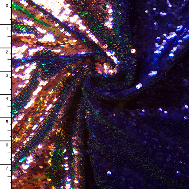 Iridescent Copper and Midnight Blue Reversible Two Tone Sequin Fabric