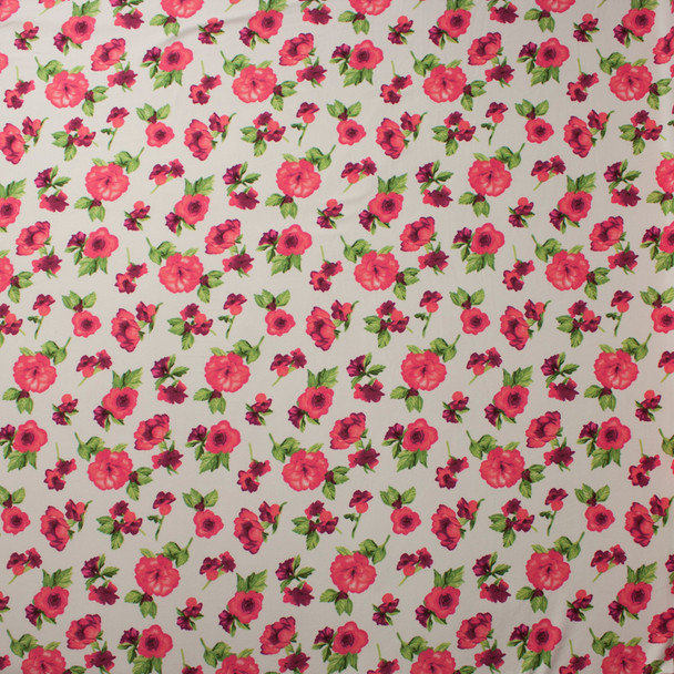 Pink and Green Roses on Offwhite Double Brushed Poly Spandex Knit