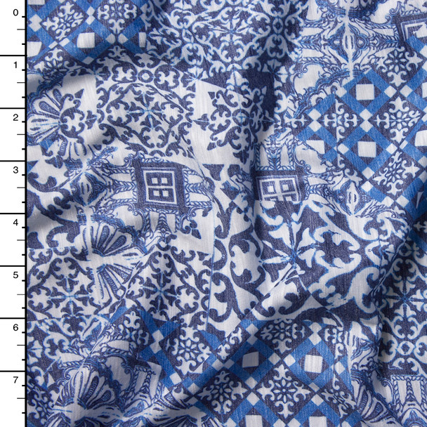 Ornate Blue Patchwork Print Brushed Slubbed Jersey Knit