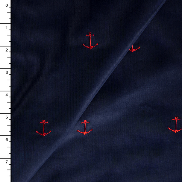 Red Embroidered Anchors on Navy Blue Baby Wale Corduroy