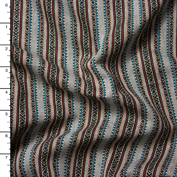 Black, Ivory, Red, and Blue Pattern Stripe Rayon Suiting