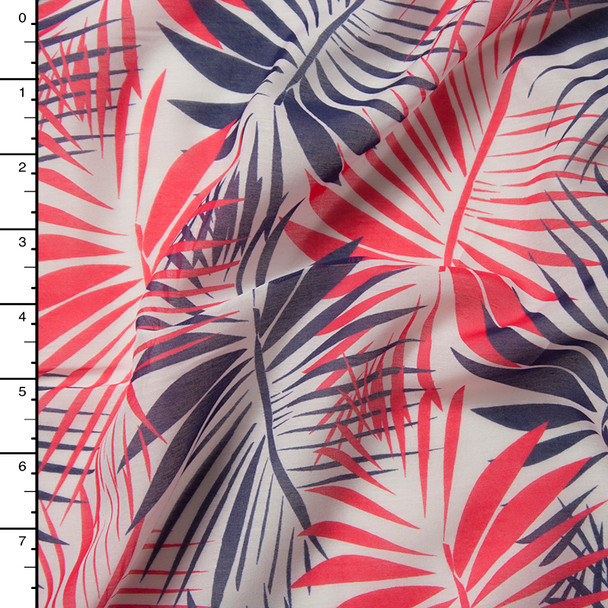 Red and Purple Palms on White Lightweight Cotton Voile from 'Milly'