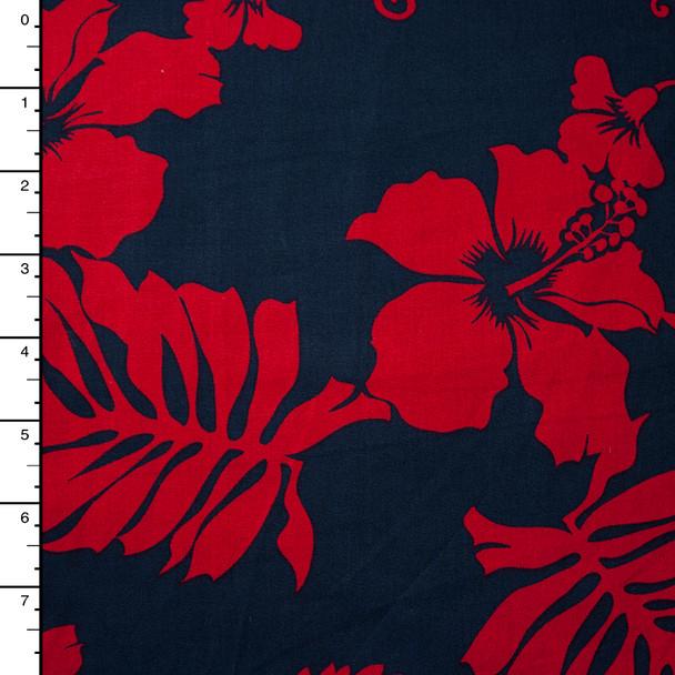 Red and Navy Hawaiian Print Cotton by Robert Kaufman