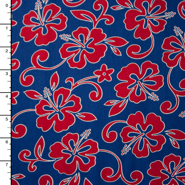 Blue and Red Hawaiian Print Cotton by Robert Kaufman