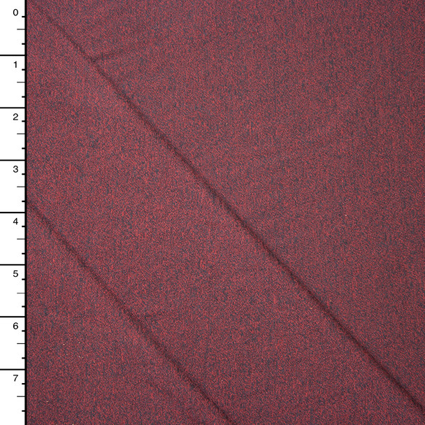 Red and Charcoal Heather Lightweight Jersey Knit Fabric By The Yard