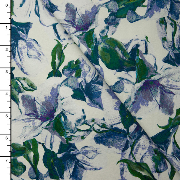 Green and Violet Flowers on Ivory Heavyweight Designer Stretch Sateen Fabric By The Yard
