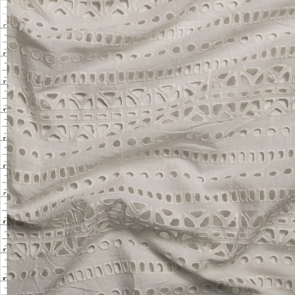 Warm White Tribal Stripe Cotton Eyelet Fabric By The Yard