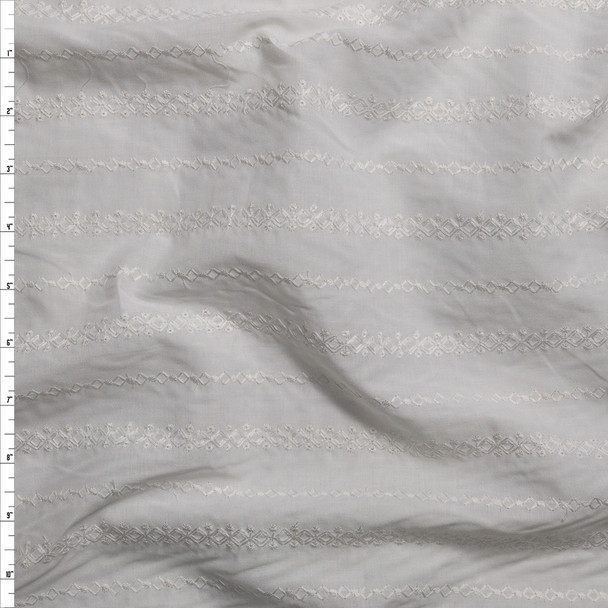 White Diamond Stripe Embroidered Cotton Lawn Fabric By The Yard