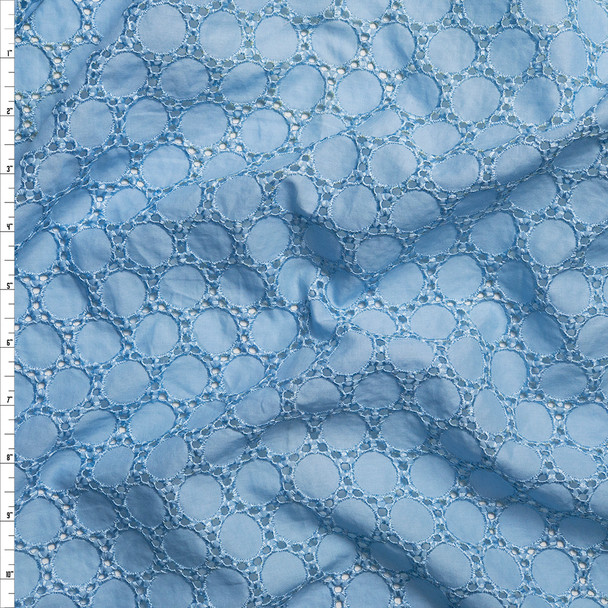 Baby Blue Circles Cotton Eyelet Fabric By The Yard
