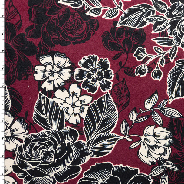 Black and Offwhite Line Art Roses on Wine Double Brushed Poly Spandex Fabric By The Yard