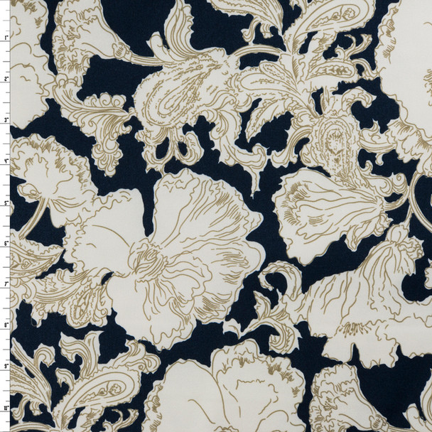 Tan and Offwhite Sketchbook floral on Navy Stretch Cotton Sateen by '7 for all Mankind Fabric By The Yard