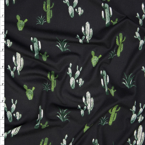 Green Cactus on Black Double Brushed Poly Spandex Fabric By The Yard